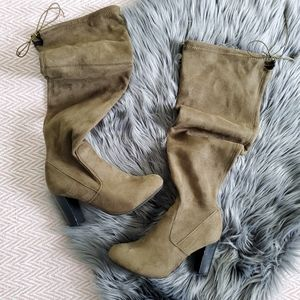 Discovery Olive Brown Over the Knee Heel Boots